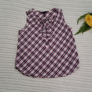 4/$30 Land's End plaid sleeveless blouse